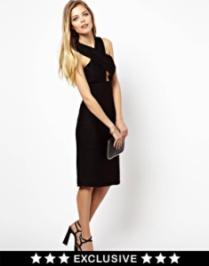 Lashes Of London Midi Dress With Cross Front